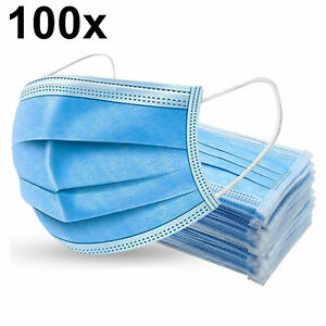100x 3-Ply Blue Disposable Surgical Face Mask Mouth Guard Protective Breathable