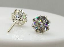 4Ct Round Cut Forever Classic Moissanite 14k White Gold Screwback Stud Earrings