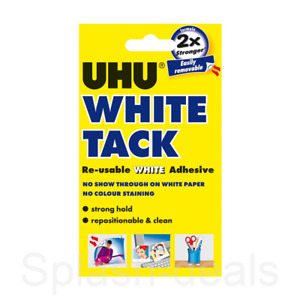 UHU White Tack Sticky Tac - Trusted Reusable White Adhesive Putty - Handy 50g