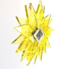 BRIGHT YELLOW CLEAR RECYCLED GLASS MANDALA HANGING STAR MOBILE MIRRORED TWISTING