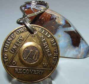Alcoholics Anonymous AA 16 Year Bronze  Medallion Keychain Token coin chip Sober