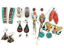 Stunning Sterling Silver Native American Style Inlay MIXED LOT TEN Post Earrings