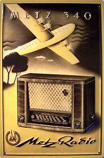Metz 340 Radio Récepteur mondial Pancarte En Tôle Signe En Métal 3D en relief
