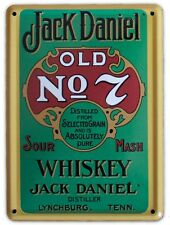JACK DANIELS WHISKEY GREEN LABEL Small Vintage Metal Tin Pub Sign