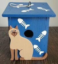 New Siamese Cat Hand-Painted Wood Bird House Blue Mint Condition Tonkinese