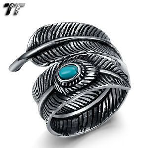 Quality TT 316L Stainless Steel Feather Cuff Ring With Turquoise (RZ156) New