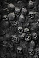 Skulls in Wall Spooky Photo Art Print Poster 24x36 inch