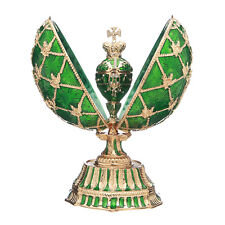 Faberge Egg with Russian Coat of Arms Emperor's Crown & Clock 5.7'' 14.5cm green