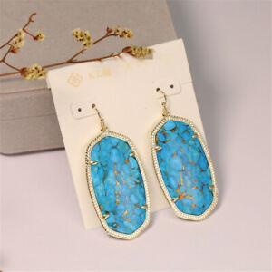 Kendra Scott Dani Turquoise Veined Bronze Gold Tone Fashion New Earrings