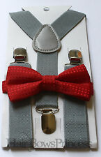 Kids Boys Baby gray Suspenders red bow tie 6months-5T Ring bearer Christmas