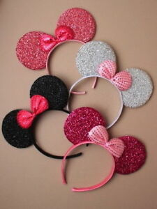 MINNIE MOUSE EARS SPARKLY BOW ALICEBAND HEADBAND FANCY DRESS PARTY HEN NIGHTS UK
