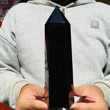 908g Natural Black Obsidian Quartz Crystal Point Healing Wand Obelisk