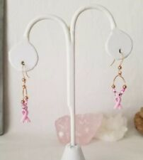 Think Pink Ribbon Charm Rose Gold-Filled Earrings