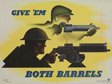 GIVE EM BOTH BARRELS VINTAGE WWII PROPAGANDA POSTER ART PRINT 27x36 BIG