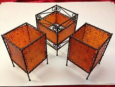 Orange Print Faux Goat Skin Pattern Candle Holders Shade Square Indian Moroccan