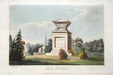 GRAYS monument, Stoke Poges Ackermann ANTIQUE PRINT 1824