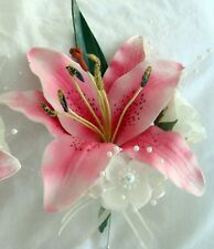 CORSAGE REAL TOUCH PINK LILY, WEDDINGS, FUNCTIONS ETC