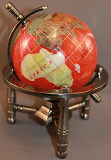Genuine Multi-Gemstone Desktop Globe Pewter Tone Base Coral Red Globe Free S & H