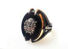 Turkish Ottoman Style Claw Ring Onyx Stone 925 K Sterling Silver Mens s Ring