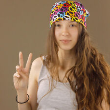 Tie Up Rainbow Square Peace Signs Hair Bandana Head Scarf Durag Chef Funky Retro