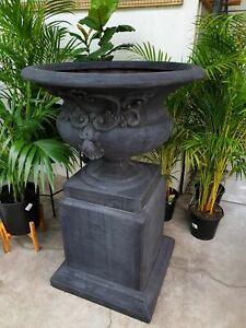 Outdoor Garden Patio St Michele Urn Pedestal Pot Round Bowl Planter Black