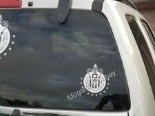 "CHIVAS DE GUADALAJARA BLANCO 12 ESTRELLAS CUT DECAL STICKER   4.5""X 5.25"" CALCA"