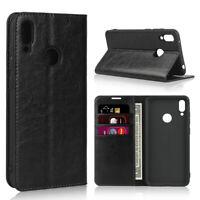 For Huawei Y5 Y6 Y7 Y9 2019/2018 Luxury Genuine Leather Wallet Flip Case Cover