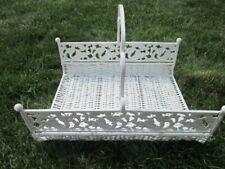 Shabby Chic White Wicker Magazine/Newspaper rack basket w/ metal scroll handles