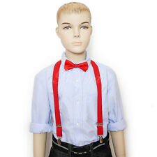 Red Suspender and Bow Tie Set for Baby Toddler Kids Boys Girls (USA Seller)