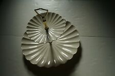 Vintage 2 Stage California Pottery Off-White Scalloped Edge Serving Dish Handle