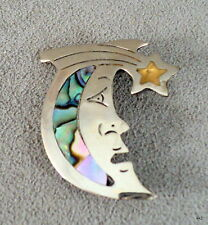 Vtg Man in the Moon Brooch Shimmery Abalone Inlay Alpaca Silver Mexico - Estate