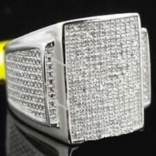Diamond Engagement Pinky Men's 10K White Gold Round Cut Band Ring 2.60 Ct.tw
