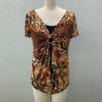 Only 9 Layered Open Front Top Blouse Women's XL Brown Knit Stretch Short Sleeve