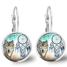 Glass cabochon wolf earrings animal jewelry wolf jewelry glass earrings jewelry