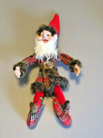 "Christmas Elf Jester Red Plaid Coat Fur Ornament Doll Poseable 14"" Jingle Bells"