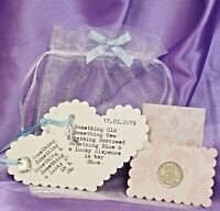 LUCKY SIXPENCE FOR WEDDING DAY. LUCKY SIXPENCE, VERSE AND GIFT POUCH.
