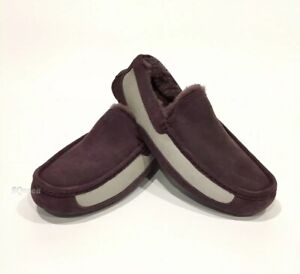 UGG ASCOT TWO TONE MEN'S SLIPPERS LOAFERS -PORT SUEDE / SHEEPSKIN -US SIZE 8
