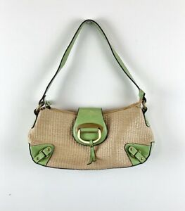 Natural Straw Lime Green Faux Leather Trim Small Baguette Purse