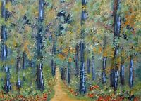 Aceo art card, Night Forest landscape painting, 2.5x3.5 miniature, limited #7