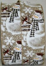 "Christmas Ribbon Snowman 2 1/2"" Wired 5 Yards Linen #94019 (Choose Color)"