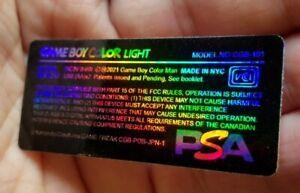 1 Nintendo Game Boy Color Light CGB-101 HOLOGRAPHIC 🔎PSA EDITION🔍Console Label