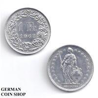 Suiza 1 Franken Plata 1905 1906 1945 1947 1956 1959 1962 Suiza Plata