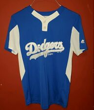 LA Dodgers Majestic Cool Base #1 Jersey Henley Shirt Royal Blue Medium Spell Out