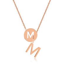 Edelstahl Damen Halskette Buchstabe M Anhänger Roségold Kette rose gold necklace