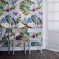 Non-Woven wallpaper Watercolor hibiscus Floral Beautiful pastel colors Mural