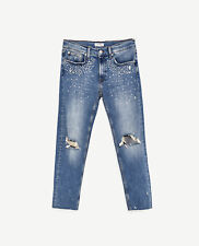 BNWT Zara Blue Slim Fit Boyfriend Jeans with Pearls (UK Size 6)
