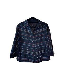 Silkland Button Down Blouse/Jacket Black Multicolor Sequins 100% Silk Large L
