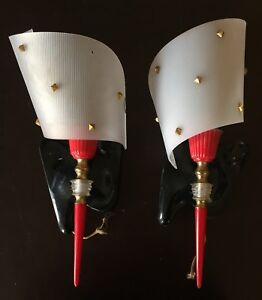 Two Vintage 1960's Mid-Century Modern French Sconces, Black & Red Design