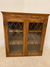 HANGING WALL CUPBOARD DISPLAY CABINET CARVED WOOD LOCKABLE WITH KEY 3 SHELVES