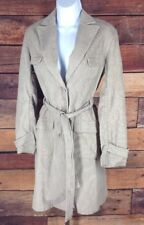 Express~sz 3/4~Corduroy Trench Coat Jacket Belt Single Breasted Khaki Brown